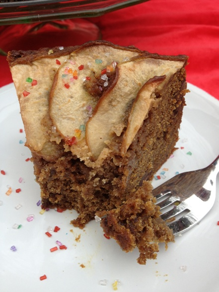 Chocolate and pear spice cake