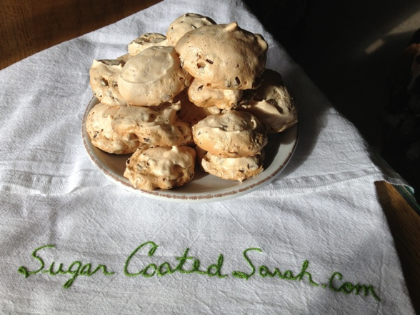 Coconut chocolate chip meringues